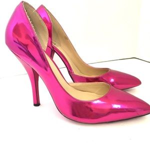 Shoedazzle Carine Pink Patent Shiny D'Orsay Heel